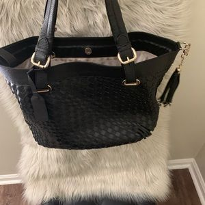 VIDA Bags - Genuine Leather Black Woven Large Bag Tote